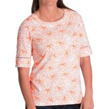 Pendleton Trimmed Print Cotton T-Shirt - Elbow Sleeve (For Women) in White/Orange Peel - Closeouts