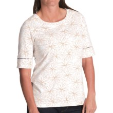 Pendleton Trimmed Print Cotton T-Shirt - Elbow Sleeve (For Women) in White/Oxford Tan - Closeouts