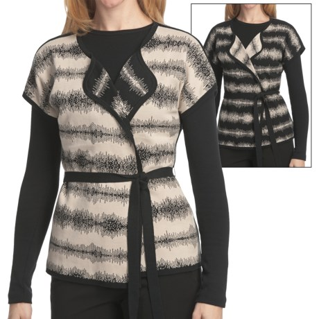Pendleton Turn Around Cardigan Sweater - Reversible, Short Sleeve (For Plus Size Women) in Black/Oxford Tan