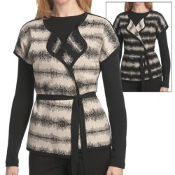 Pendleton Turn Around Cardigan Sweater - Reversible, Short Sleeve (For Women) in Black/Oxford Tan
