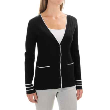 Pendleton Two-Pocket Ribbed Cardigan Sweater - Silk (For Women) in Black/White - Closeouts