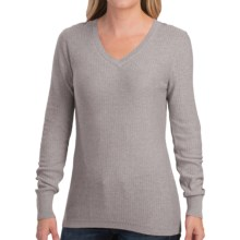 Pendleton V-Neck Pointelle Sweater - Cotton-Cashmere (For Women) in Soft Grey Heather - Closeouts