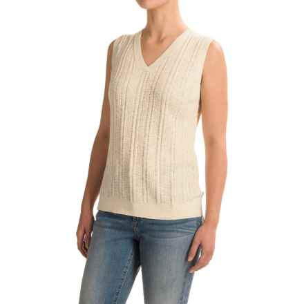 Pendleton V-Neck Sweater Vest (For Women) in Ivory - Closeouts