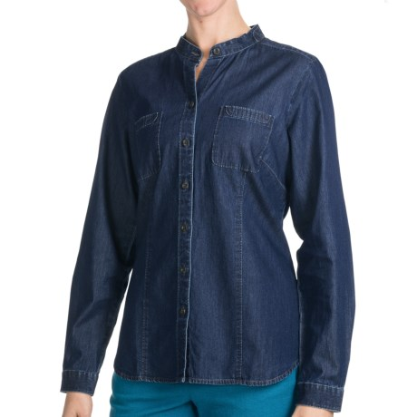 Pendleton Weekend Work Shirt - Mandarin Collar, Long Sleeve (For Women) in Denim