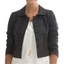 Pendleton Worsted Wool Flannel Crop Jacket - 3/4 Sleeve (For Women) in Charcoal Mix - Closeouts