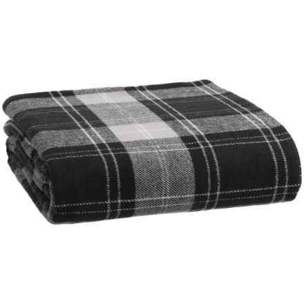 Pendleton Yarn-Dyed Cotton Flannel Plaid Blanket - Queen in Black/White - Closeouts