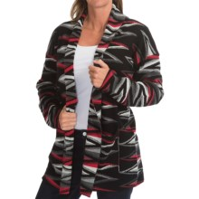 Pendleton Zigzag Stripe Cardigan Sweater - Cotton-Merino Wool (For Women) in Black/Grey/Red - Closeouts