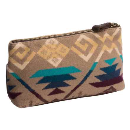 Pendleton Zip Pouch - Fabric and Leather (For Women) in Khaki - Closeouts