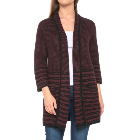 Image of Penelope Stripe Cardigan Sweater - Open Front (For Women)