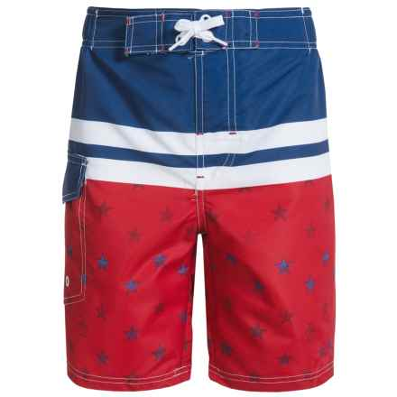 Penguin Americana Swim Trunks (For Big Boys) in Navy - Closeouts