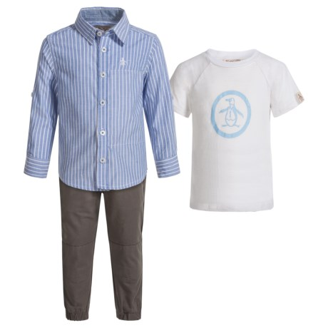 Penguin Chambray Shirt, T-Shirt and Joggers Set - Short Sleeve and Long Sleeve (For Infants) in Castlerock
