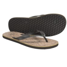 Penguin Footwear Cork Sandals - Flip-Flops (For Men) in Brown/Yellow Leather - Closeouts