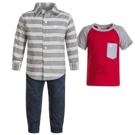 Penguin Moto Chambray Shirt, T-Shirt and Joggers Set - Short Sleeve and Long Sleeve (For Infants) in Dress Blues - Closeouts