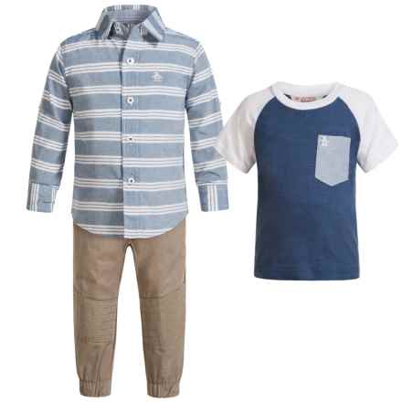 Penguin Moto Chambray Shirt, T-Shirt and Joggers Set - Short Sleeve and Long Sleeve (For Infants) in Khaki - Closeouts