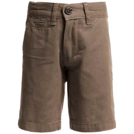 Penguin Solid Basic Twill Shorts (For Little Boys) in Khaki - Closeouts