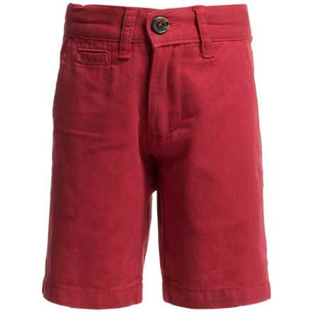 Penguin Solid Basic Twill Shorts (For Little Boys) in Washed Red - Closeouts