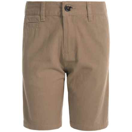 Penguin Solid Twill Shorts (For Big Boys) in Khaki - Closeouts