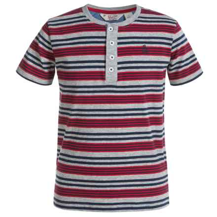 Penguin Striped Henley Shirt - Short Sleeve (For Big Boys) in Heather Grey - Closeouts