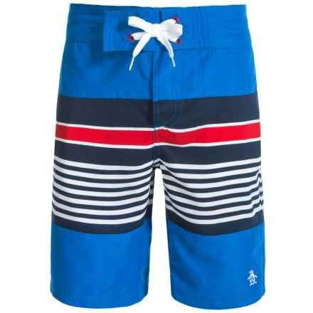 Penguin Striped Swim Trunks with Pockets (For Big Boys) in Skydiver - Closeouts