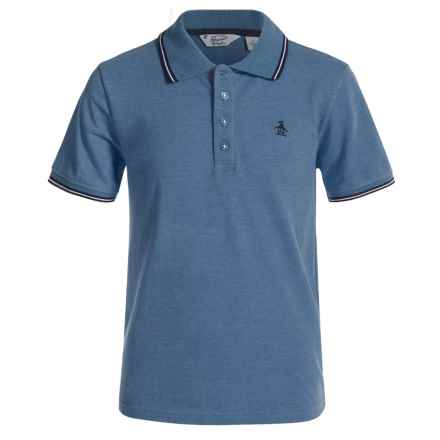 Penguin Tipped Polo Shirt - Short Sleeve (For Big Boys) in Pool Blue - Closeouts