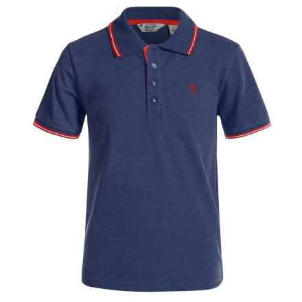 Penguin Tipped Polo Shirt - Short Sleeve (For Little Boys) in Dress Blues - Closeouts