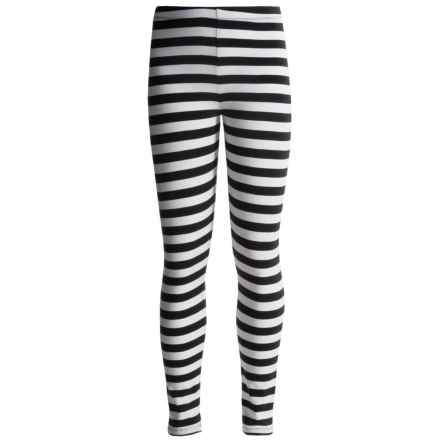 Penny Candy Ankle Leggings - Stretch Cotton (For Girls) in Black & White Stripe - Closeouts