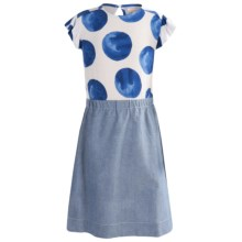 Penny Candy Photo Finish Dress - Short Sleeve (For Little and Big Girls) in Chambray - Closeouts