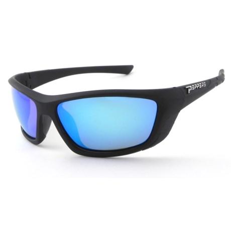 Peppers Eyeware Lambert Sunglasses - Polarized, Mirrored in Matte Black/Brown/Ice Blue Mirror