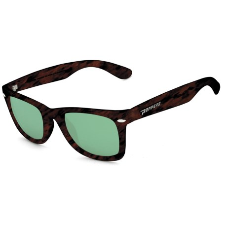 Peppers Eyeware Seaside Floating Sunglasses - Polarized, Mirrored in Rubberized Matte Tortoise/Brown/Emerald Green Mirr