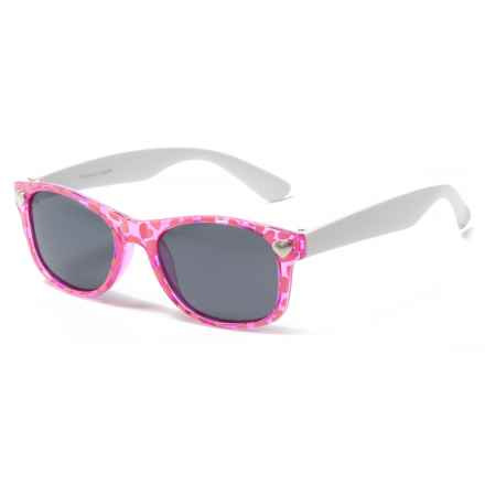 Peppers Polarized Eyeware Darla Sunglasses - Polarized (For Kids) in Pink Hearts W/White/Smoke - Closeouts