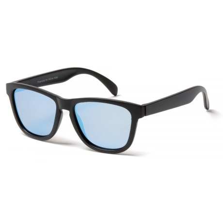 Peppers Polarized Eyeware Front Row Sunglasses - Polarized Mirror Lenses (For Kids) in Matte Black/Brown W/Diamond Blue