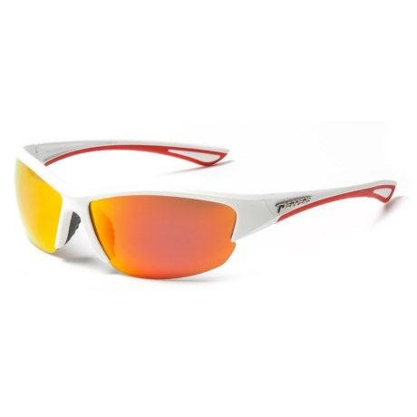 Peppers Polarized Eyeware Kickturn Sunglasses - Polarized Mirror Lenses in Matte White/Smoke W/Fire Red