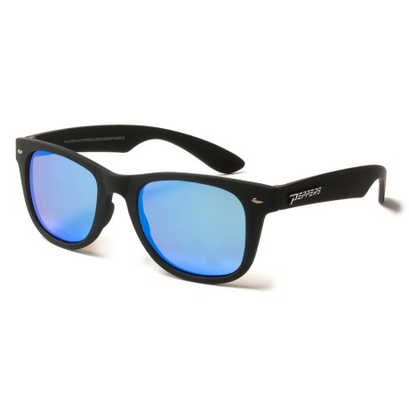 Peppers Polarized Eyeware Seaside Floating Sunglasses - Polarized, Mirrored in Rubberized Matte Black/Brown/Ice Blue Mirror