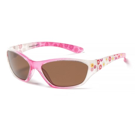 Peppers Polarized Eyeware Ziggy Sunglasses - Polarized (For Kids) in Pink Fade W/Pink Flowers On/Brown