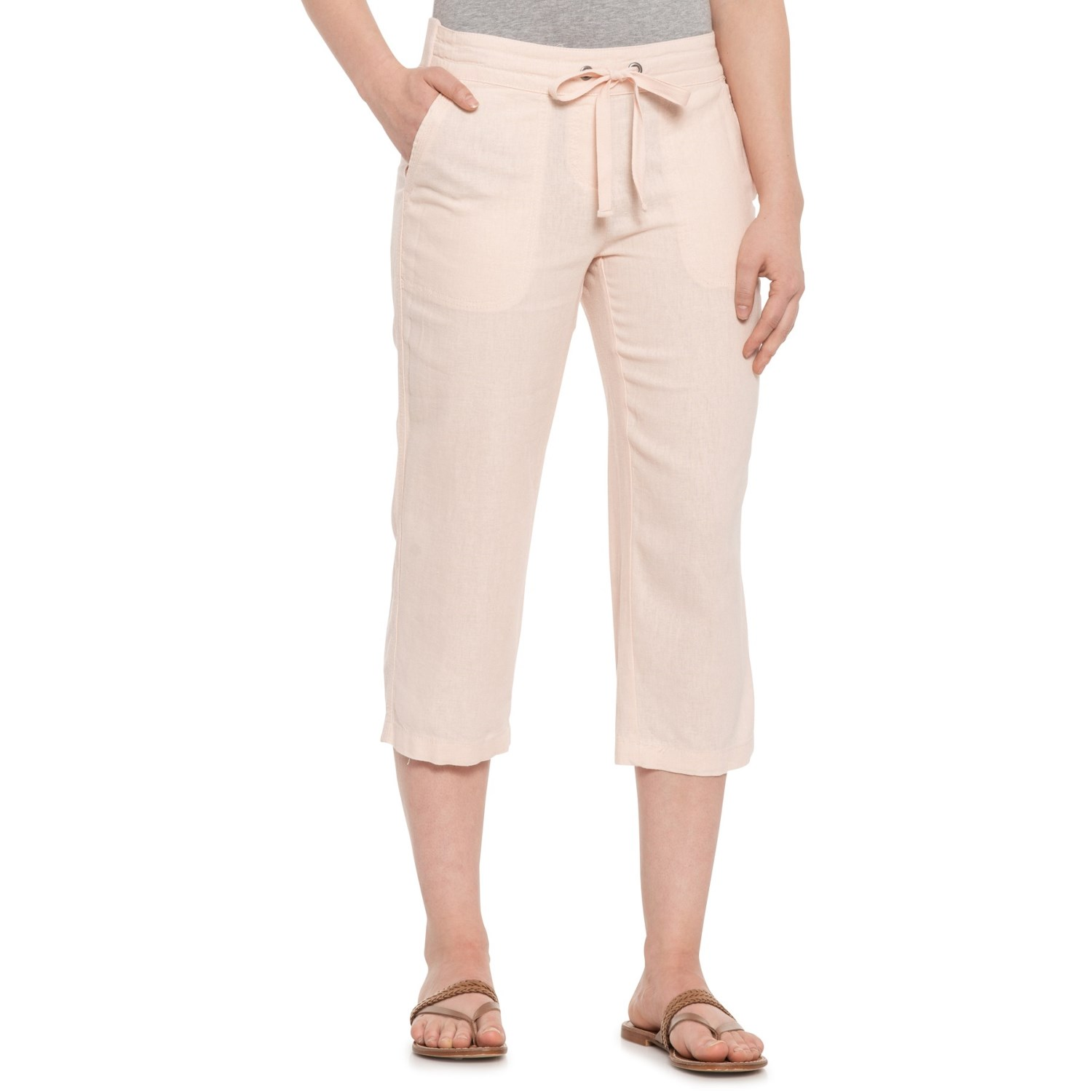 f1142c343677 Per Se Blush Solid Drawstring Capris (For Women)