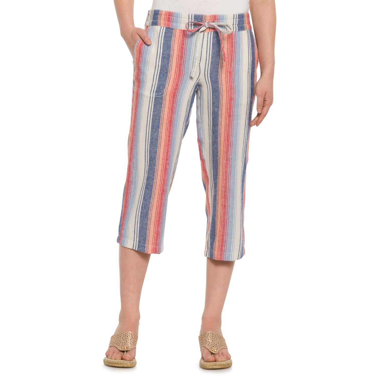 d1aef8dcc06d Per Se Ombre Striped Drawstring Capris (For Women)