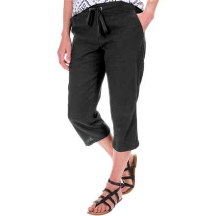 Per Se Solid Linen Capris (For Women) in Black - Closeouts