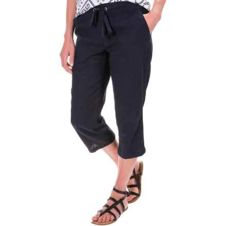 Per Se Solid Linen Capris (For Women) in Navy - Closeouts