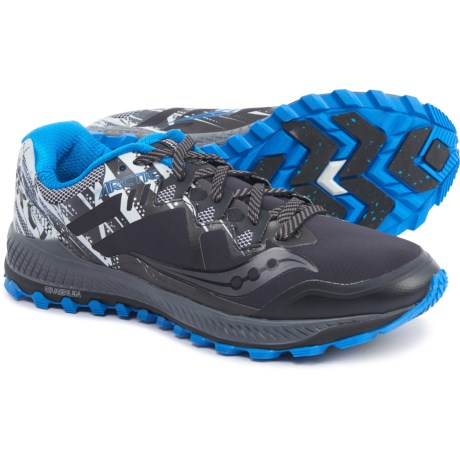 Peregrine 8+ Ice Trail Running Shoes (For Men) - BLACK/WHITE/BLUE (8 )