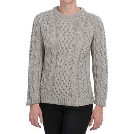 Peregrine Aran Cable-Knit Sweater - Merino Wool, Crew Neck (For Women) in Light Grey - Closeouts