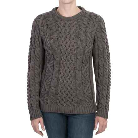 Peregrine Aran Cable-Knit Sweater - Merino Wool, Crew Neck (For Women) in Mole Grey - Closeouts