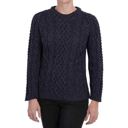Peregrine Aran Cable-Knit Sweater - Merino Wool, Crew Neck (For Women) in Navy - Closeouts