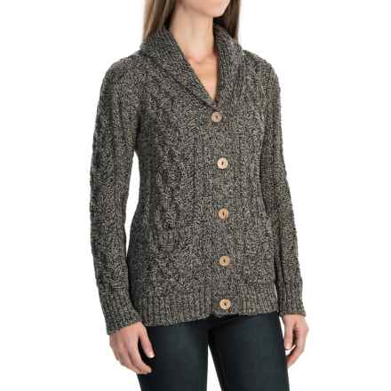 Peregrine Aran Shawl Collar Cardigan Sweater - Peruvian Merino Wool (For Women) in Humbug - Closeouts