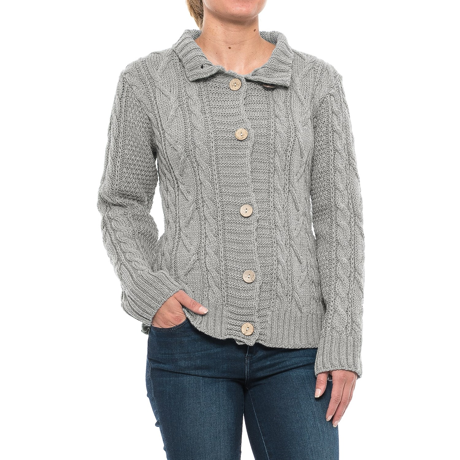 Peregrine Aran Turtleneck Cardigan Sweater (For Women) - Save 60%