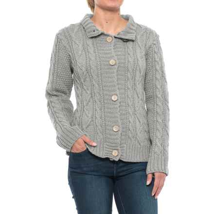 Peregrine Aran Turtleneck Cardigan Sweater - Peruvian Merino Wool (For Women) in Dove - Closeouts