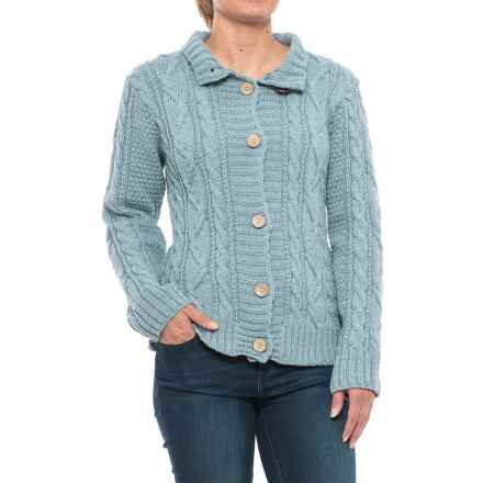 Peregrine Aran Turtleneck Cardigan Sweater - Peruvian Merino Wool (For Women) in Mist - Closeouts