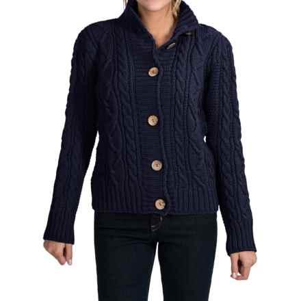 Peregrine Aran Turtleneck Cardigan Sweater - Peruvian Merino Wool (For Women) in Navy - Closeouts