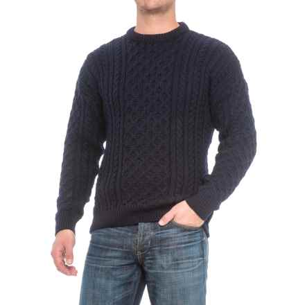 Peregrine Aran Wool Sweater (For Men) in Navy - Closeouts