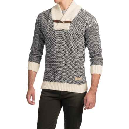 Peregrine Buckle Nordic Sweater - Merino Wool (For Men) in Ecru/Navy Fleck - Closeouts