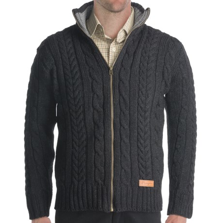 Peregrine by J. G. Glover Chunky Cable Sweater - Merino Wool, Full Zip (For Men) in Navy
